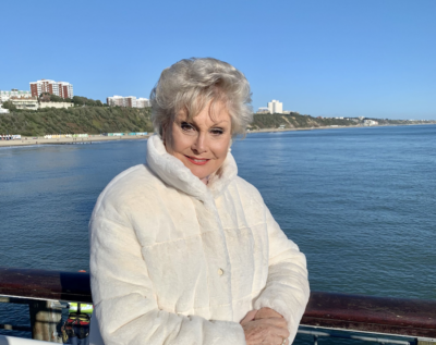 Angela Rippon by the sea