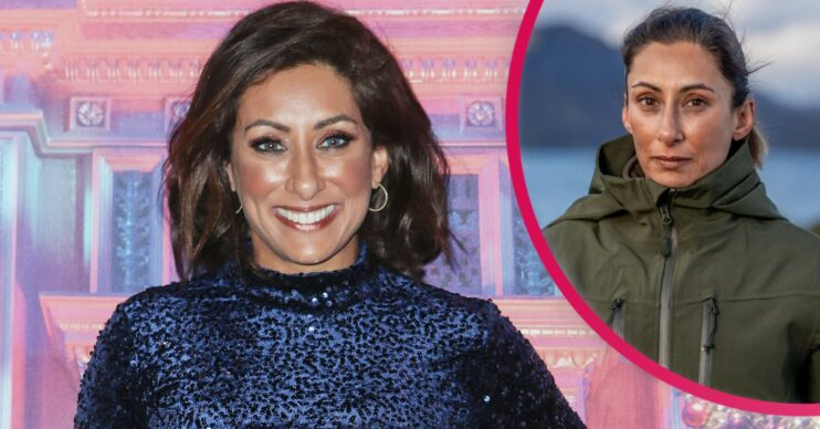 Saira Khan smiles in a blue velvet dress with inset of her in khaki anorak on Celebrity SAS Who Dares Wins