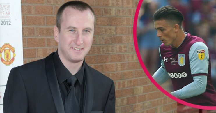 Andy Whyment in a black suit with inset of Jack Grealish playing for Aston Villa