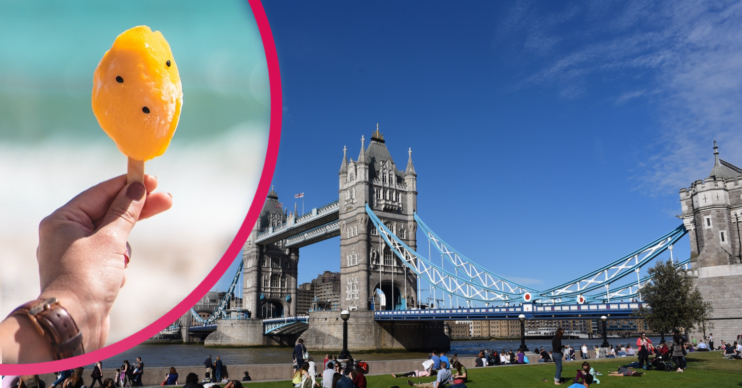 UK landmark London Tower Bridge with sunny clear blue skies and inset of ice lolly