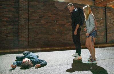 Corey and Kelly stand over Seb's lifeless body in Coronation Street