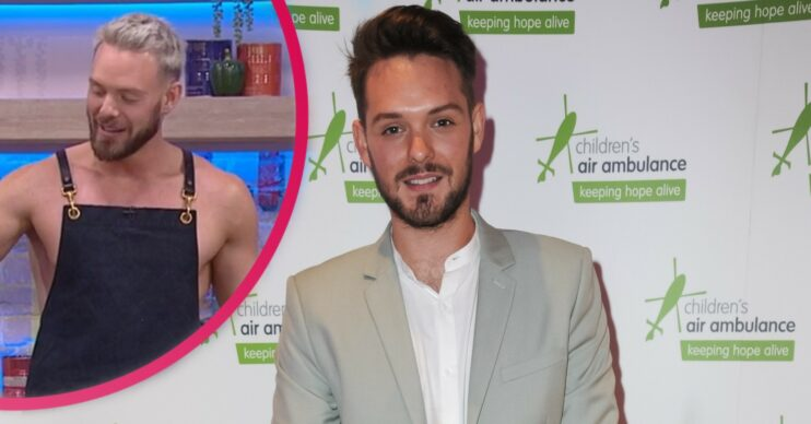 John Whaite with inset of himself cooking topless in an apron