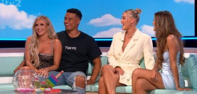 Love Island stars Chloe, Toby, Mary and Abi during reunion 2021