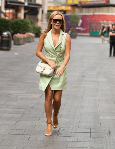 Amanda Holden wears green playsuit as she leaves Heart FM