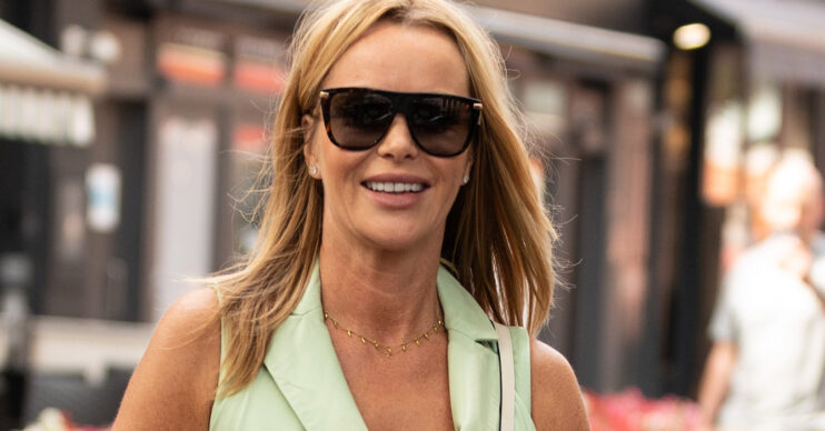 Amanda Holden wears playsuit and sunglasses outside Heart FM