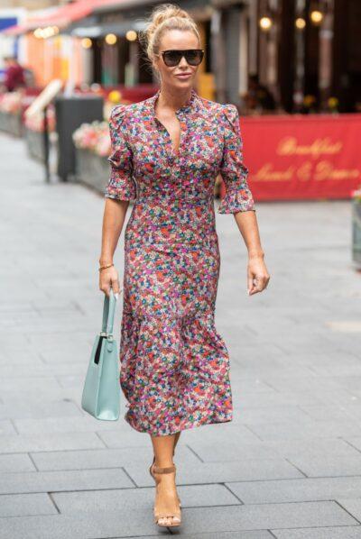 Amanda Holden stuns in floral dress outside Heart FM studios