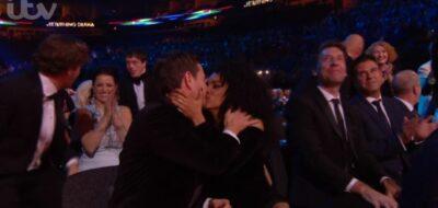 Martin Compston and wife kiss at NTAs