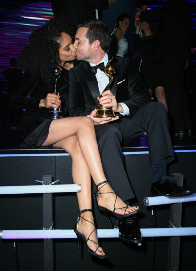 Martin Compston kisses wife at NTAs