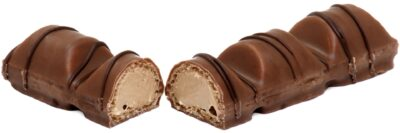 A bar of Kinder Bueno broken in two