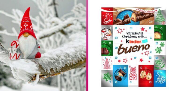 Composite of Kinder Bueno advent calendar and Santa Claus figurine