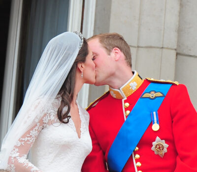 Kate and Will share a kiss on their wedding day