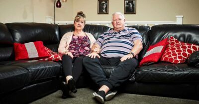 Pete McGarry on the sofa with wife Linda