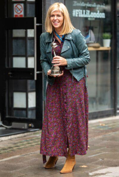 Kate Garraway smiles outside Global studios