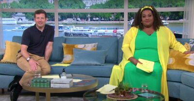 Dermot O'Leary and Alison Hammond sit next to each other on the This Morning sofa