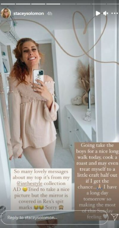 Stacey Solomon unveils baby bump in pink top