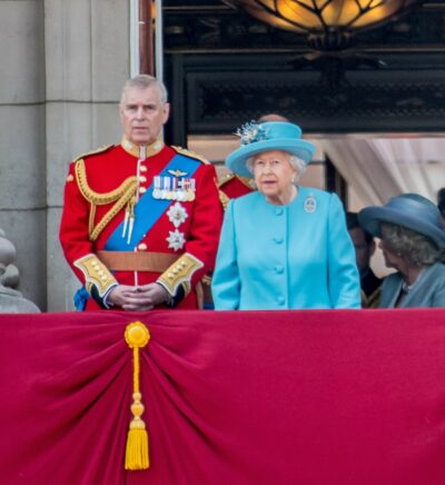 Prince Andrew and the Queen on the balcony of Buckingham Palace