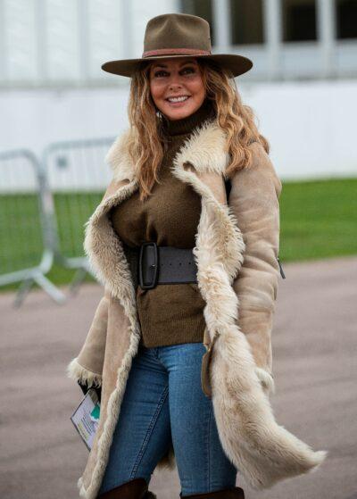 Carol Vorderman smiles at the races