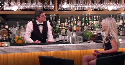 Merlin whips up a cocktail for a First Dates customer