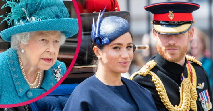 prince harry and meghan markle alongside the queen