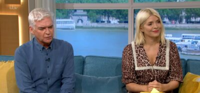 Holly Willoughby wears leopard print dress on This Morning today