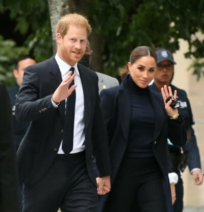 Prince Harry and Meghan Markle wave as they step out in New York