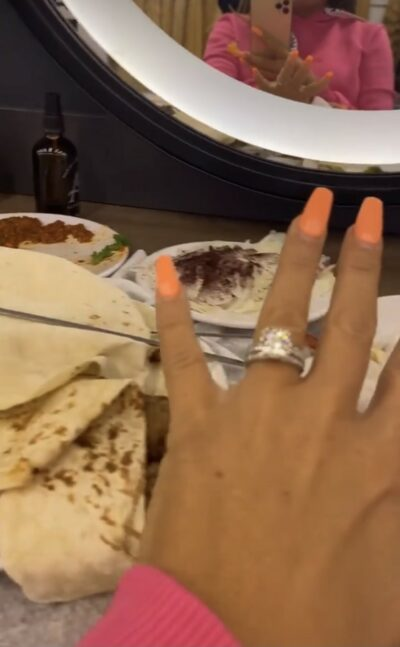 Katie Price flashes Carl Woods engagement ring