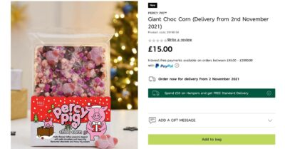 Percy Pigs Giant Choc Corn will be available for delivery