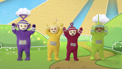 The teletubbies in the video for their new single Ready Steady Go