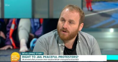 Climate protester discusses news on GMB