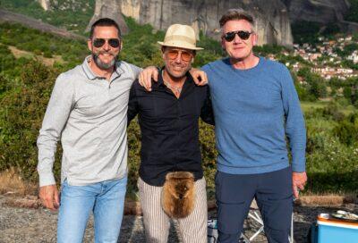 Gino D'Acampo with Fred Sirieix and Gordon Ramsay