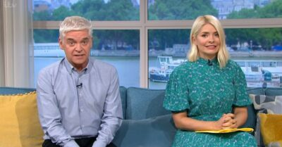Holly Willoughby wore a blue dress on This Morning today