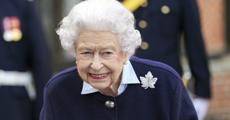 The Queen smiles while meeting soldiers at Windsor Castle