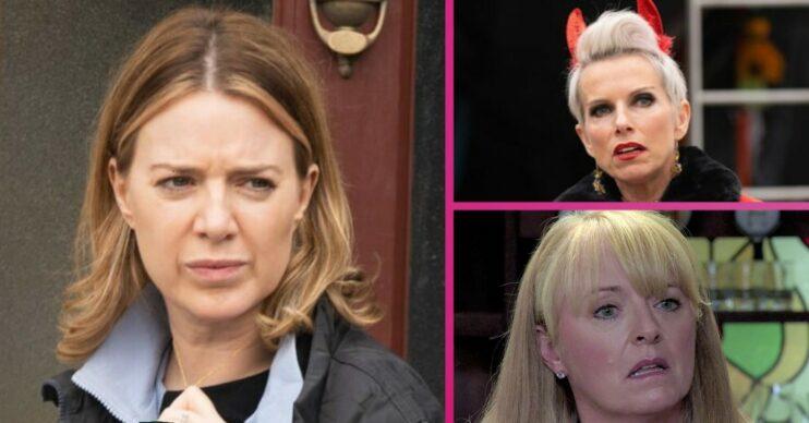Abi looks determined, Debbie looks unsure and Jenny is shocked in Coronation Street