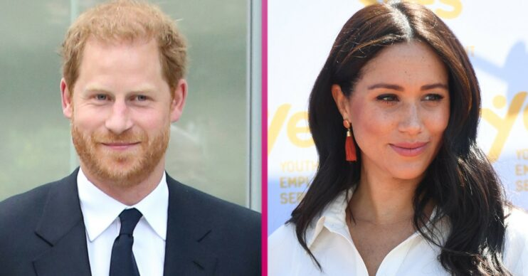Harry and Meghan smile during royal engagements